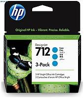 Картридж HP Europe, DesignJet 3-Pack, Струйный, №712, голубой, 29 мл