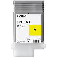 Тонер Canon, PFI-107Y, Струйный широкоформатный, №107, желтый, 130 мл