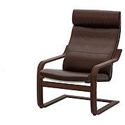 POÄNG ПОЭНГ Кресло, коричневый/Глосе темно-коричневый