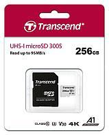 Карта памяти MicroSD 256GB Class 10 U3 A1 Transcend TS256GUSD300S-A