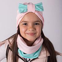 Комплект (шапка, снуд) для девочки, цвет мятный, размер 46-50 см