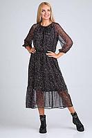 Женское осеннее шифоновое черное нарядное большого размера платье Ollsy 1566 48р.