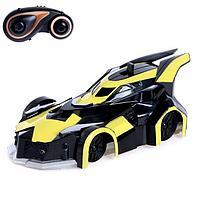 Антигравитационная машинка 'СпортКар', радиоуправление, аккумулятор, ездит по стенам, свет, цвет жёлтый