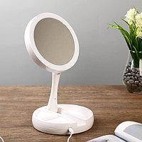 Лампа настольная с зеркалом 'Модница' LED 5Вт USB белый 15,5х15,5х5 см.