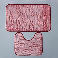 Набор ковриков для ванной и туалета 'Светящиеся грани', 2 шт 50x80, 50x40 см, цвет бордовый