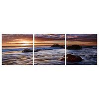 Модульная картина 'Камни в море' (3-35х35) 35х105 см