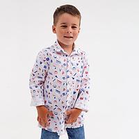 Рубашка для мальчика, цвет белый, рост 128 см