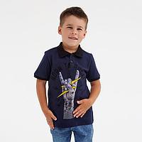 Футболка-поло для мальчика, цвет тёмно-синий, рост 122 см (7 лет)