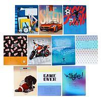 Тетрадь 24 листа в клетку 'MIX-10 Мальчики', обложка мелованный картон, блок офсет, МИКС (комплект из 12 шт.)