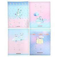 Тетрадь 12 листов в клетку 'Белый пушистый - soft', обложка мелованный картон, блок офсет, МИКС (комплект из