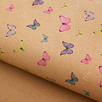 Бумага крафт Воздушные бабочки, 50х70см.