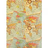 Бумага крафт для творчества Карты мира А4