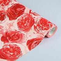 Бумага упаковочная крафт Розы любви, бело-красно-бордовая, 50 см х 1 м