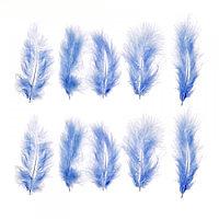 Набор перьев для декора 10 шт, цвет голубой
