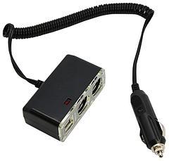 Разветвитель автоприкуривателя 16-0225  2 USB 1 A гнезда, шнур 1,5 м REXANT