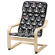 POÄNG ПОЭНГ Кресло детское, березовый шпон/Гиссларп орнамент «кошки»