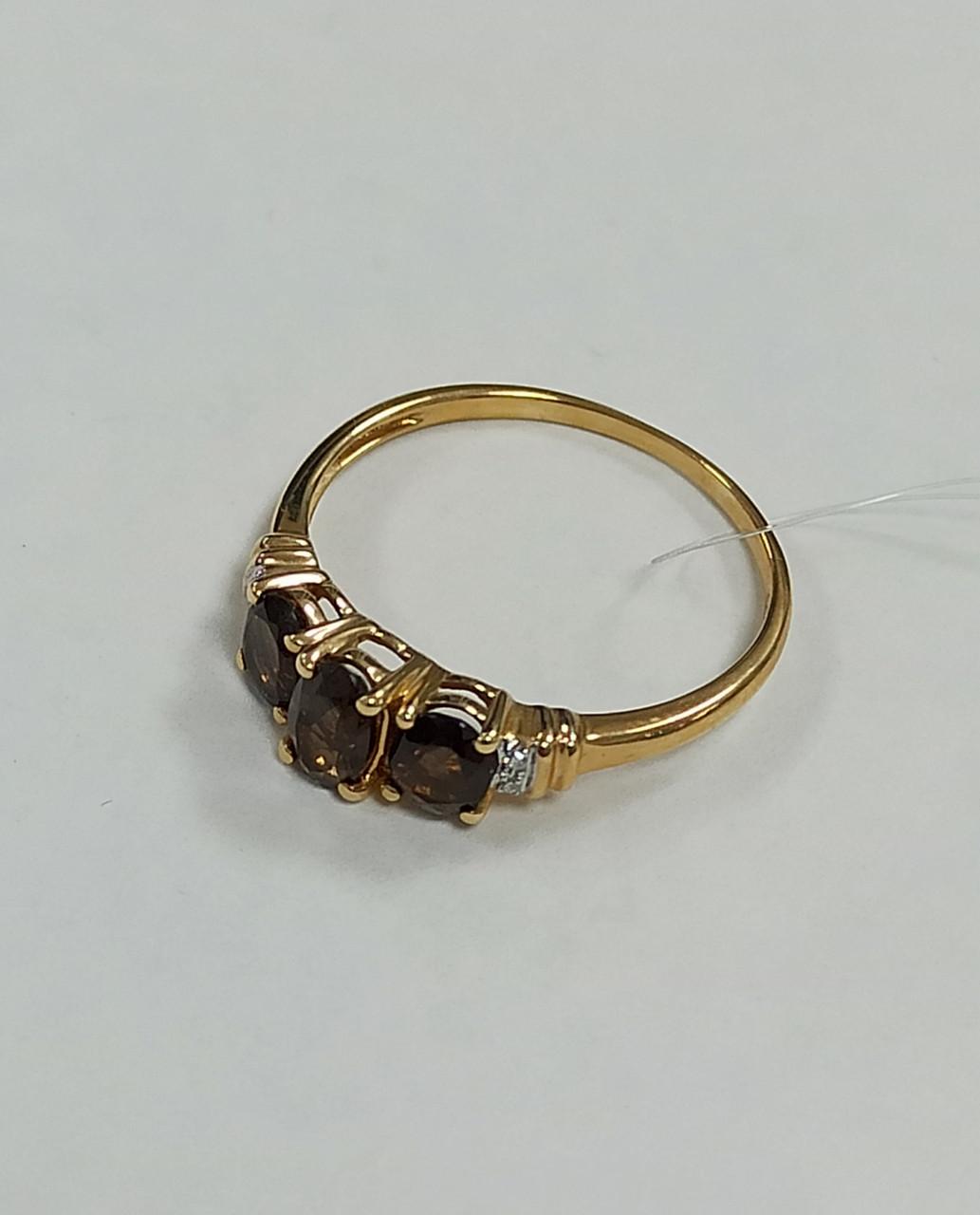 Золотой комплект с бриллиантами и раухтопазом - фото 5