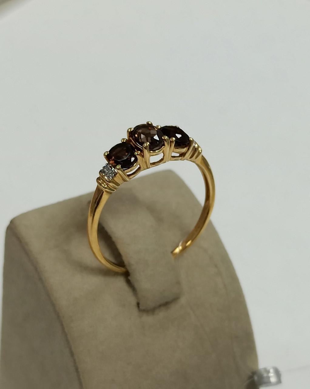 Золотой комплект с бриллиантами и раухтопазом - фото 4