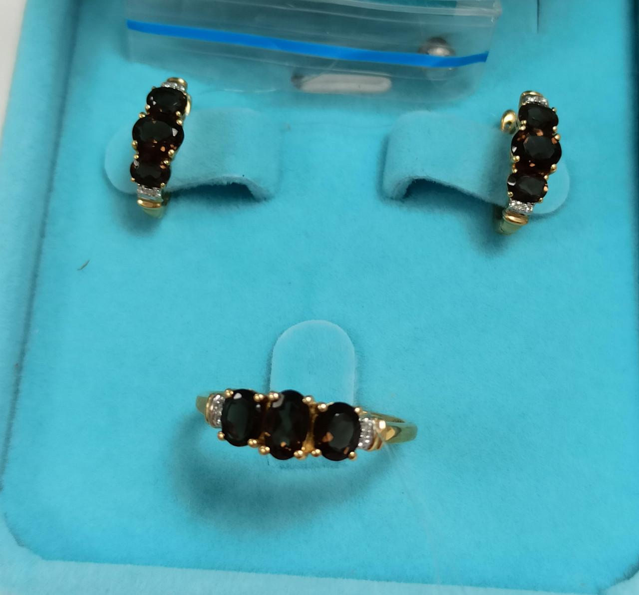 Золотой комплект с бриллиантами и раухтопазом - фото 1
