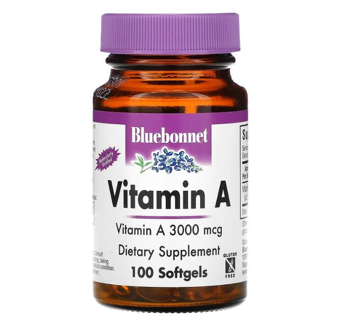 Bluebonnet Nutrition, витамин A, 3000 мкг, 100 капсул