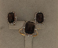 Золотой комплект с бриллиантами и раухтопазом