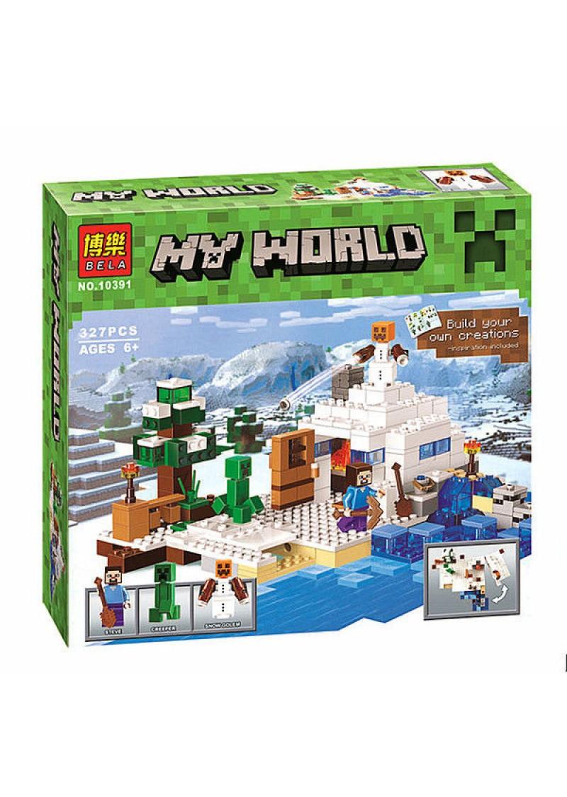 Bela My World 10391 Конструктор Снежное убежище Майнкрафт, 327 дет. (Аналог LEGO 21120)