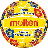 "Мяч вол. пляжн. ""MOLTEN V5B1300-FY"" р.5, мат. синт.кожа ПВХ, маш.сш, бут.кам,желто-красн-бел-синий"