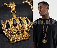 Цепь с подвеской Корона 68 см золотистая