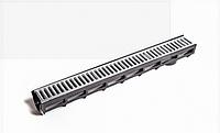 Лоток водоотводный пластиковый DN90 H100 c пластиковой решеткой