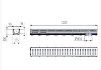 Лоток водоотводный пластиковый DN90 H100 c пластиковой оцинкованная