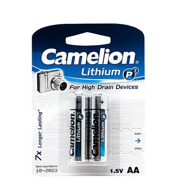 Батарейки Camelion AA (FR6-BP2), Lithium, комплект - 2 штуки