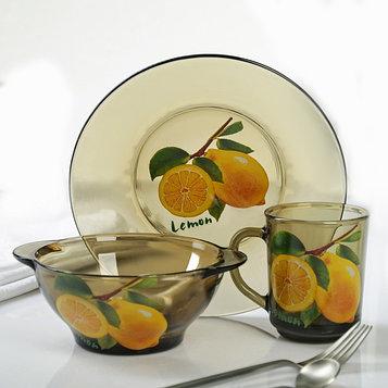 Набор для завтрака «Лимон», 3 предмета: тарелка d=20,5 см, миска 510 мл, кружка 210 мл, цвет дымка