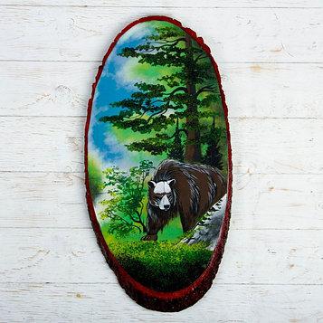 """Панно на спиле """"Лето. Медведь"""", 57-62 см, каменная крошка, вертикальное"""