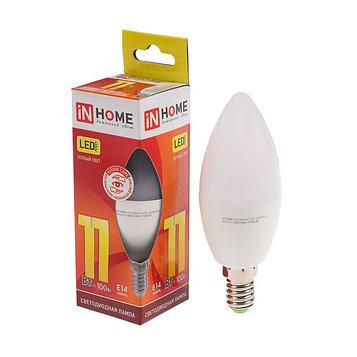 Лампа светодиодная IN HOME LED-СВЕЧА-VC, Е14, 11 Вт, 230 В, 3000 К, 990 Лм