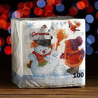 """Новогодние салфетки бумажные Гармония цвета многоцветие """"Снеговик и дети"""", 24*24 см 100 листов"""