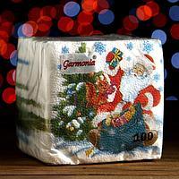 """Новогодние салфетки бумажные Гармония цвета многоцветие """"Дед Мороз"""", 24*24 см 100 листов"""