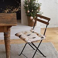 Сидушка на стул Доляна Christmas mood 42х42х7см, 100хл, рогожка 164 г/м2
