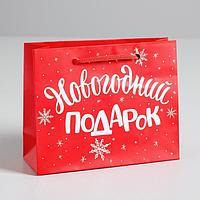 Пакет ламинированный горизонтальный 'Новогодний подарок', S 5.5 см x 15 см x 12 см