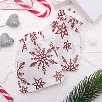 Мешочек новогодний 'Лён' снежинки, 10*12см, цвет бело-красный (комплект из 50 шт.)