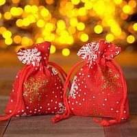 Мешочек новогодний 'Снегопад', 7*9см, цвет красный (комплект из 50 шт.)