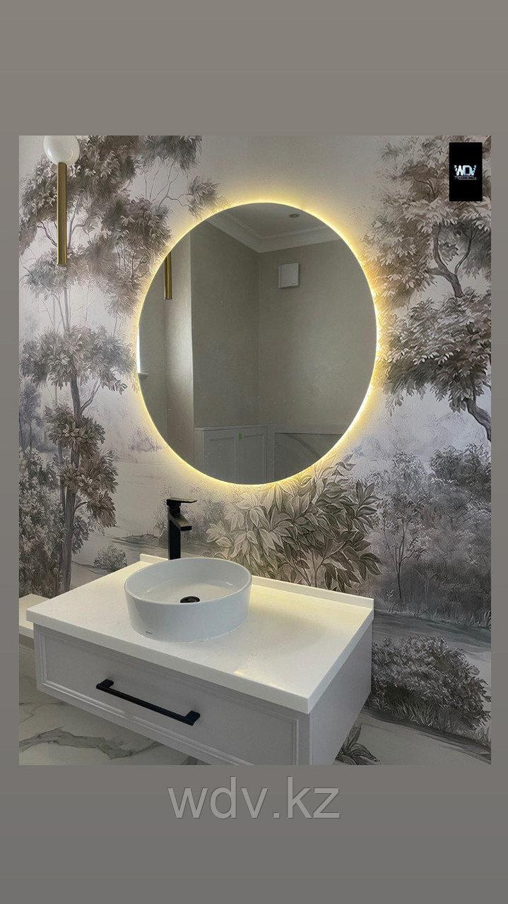 Круглое зеркало с подсветкой с тёплым светом