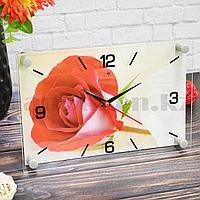 Настенные часы Рубин 2030-07 Красная роза 30 на 20 см