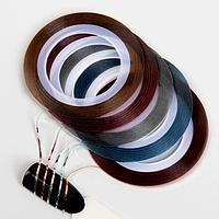 Ленты клеевые для декора, 5 шт, 1 мм, 18 м, разноцветные