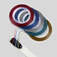 Лента клеевая для декора «Блёстки», 5 шт, 1 мм, 10 м, цвет разноцветные