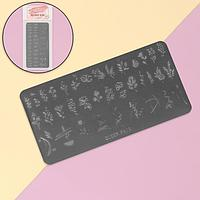 Диск для стемпинга металлический «Цветочки и листочки», 12 × 6 см