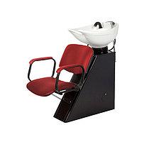 Мойка парикмахерская ЕЛЕНА с креслом КОНТАКТ, цвет красный