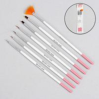 Набор кистей для наращивания и дизайна ногтей, 7 шт, 19 см, цвет белый/розовый