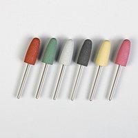 Фрезы силиконовые для полировки, 6 шт, d = 10 мм, разноцветные