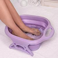 Ванночка для педикюра, 49 × 41 × 7 см, складная с массажными роликами, цвет МИКС