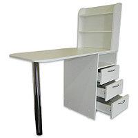 OKIRO, Маникюрный стол с тумбой на 3 полки, белый